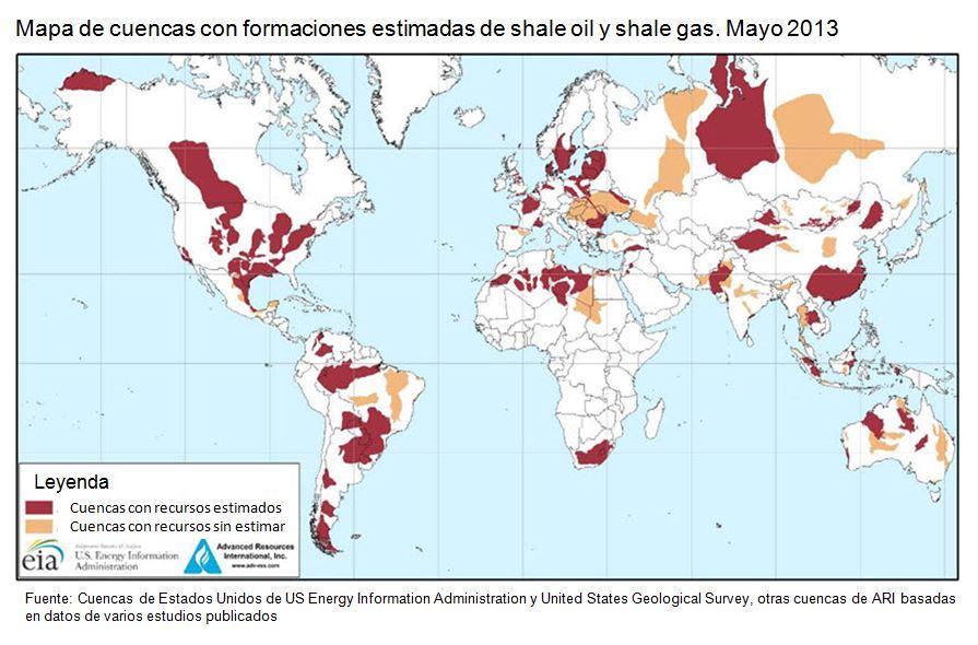 Mapa cuencas con reservas de shale gas en el mundo