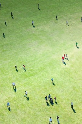 Aerial View of People in Lawn