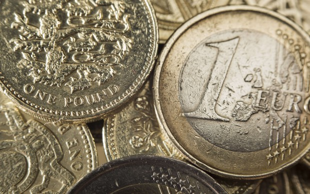 July 27, 2016 - London, UK - A selection of one pound and Euro coins, as the pound continues to be weak against the dollar and Euro, after dropping to a 30-year low after the Brexit Referendum.